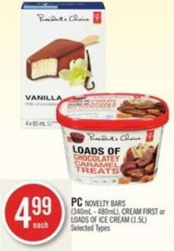 PC Novelty Bars (340ml - 480ml) - Cream First or Loads Of Ice Cream (1.5l)
