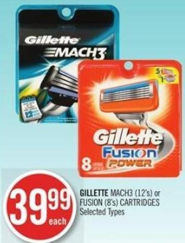 Gillette Mach3 (12's) or Fusion (8's) Cartridges