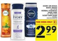 Ivory Or Nivea Body Wash Or Herbal Essences Hair Care Or Ivory Bar Soap