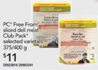 PC Free From Sliced Deli Meat Club Pack - 375/400 G