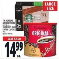 Tim Hortons Ground Coffee 640 - 930 G Or Starbucks K-cup Coffee Capsules 24 Un.
