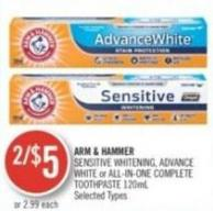 Arm & Hammer Sensitive Whitening - Advance White or All-in-one Complete Toothpaste 120ml