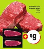 Fresh Seasoned Striploin Steaks 570 g