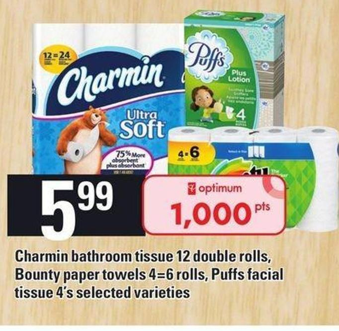 Charmin Bathroom Tissue 12 Double Rolls - Bounty Paper Towels 4=6 Rolls - Puffs Facial Tissue 4's
