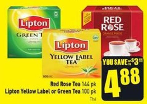 Red Rose Tea 144 Pk Lipton Yellow Label or Green Tea 100 Pk