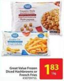 Great Value Frozen Diced Hashbrowns or French Fries