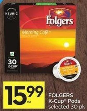 Folgers K-cup Pods Selected 30 Pk 50 Air Miles Bonus Miles