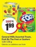 General Mills Assorted Treats - Fruit By The Foot or Gushers 128-138 g