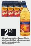 Arizona Lemon Iced Tea - Oasis Or Allen's Juice Boxes 8x200 Ml Or Rougemont Apple Juice 2 L