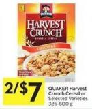 Quaker Harvest Crunch Cereal or Selected Varieties 326-600 g