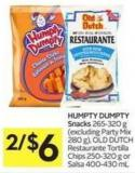 Humpty Dumpty Snacks 265-320 g (Excluding Party Mix 280 G) - Old Dutch Restaurante Tortilla Chips 250-320 g or Salsa 400-430 mL