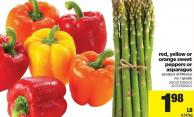 Red - Yellow Or Orange Sweet Peppers Or Asparagus