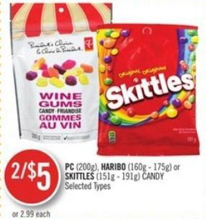 PC (200g) - Haribo (160g - 175g) or Skittles (151g - 191g) Candy