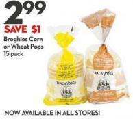 Broghies Corn  or Wheat Pops 15 Pack