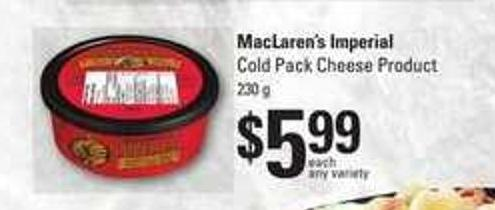 Maclaren's Imperial Cold Pack Cheese Product - 230 G