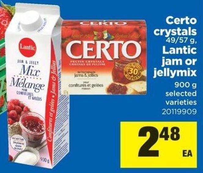 Certo Crystals - 49/57 G - Lantic Jam Or Jellymix - 900 G
