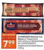 Schneiders Butcher Cut Bacon or Pepperettes 250-500 g or Sensations By Compliments Maplewood Smoked Bacon 500 g