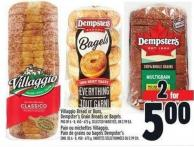 Villaggio Bread Or Buns - Dempster's Grain Breads Or Bagels Pkg Of 6 - 8 - 450 - 675 g