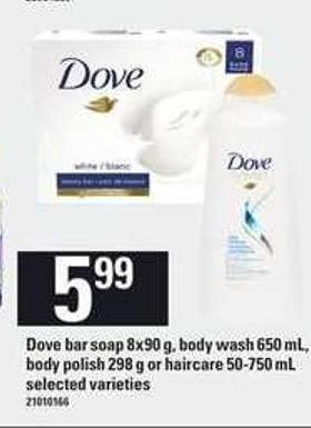Dove Bar Soap 8x90 G - Body Wash 650 Ml - Body Polish 298 G Or Haircare 50-750 Ml