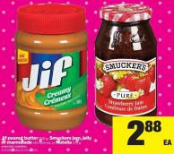 Jif Peanut Butter 500 G - Smuckers Jam - Jelly Or Marmalade 310-500 Ml Or Nutella 375 G