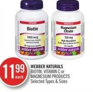 Webber Naturals Biotin - Vitamin C or Magnesium Products