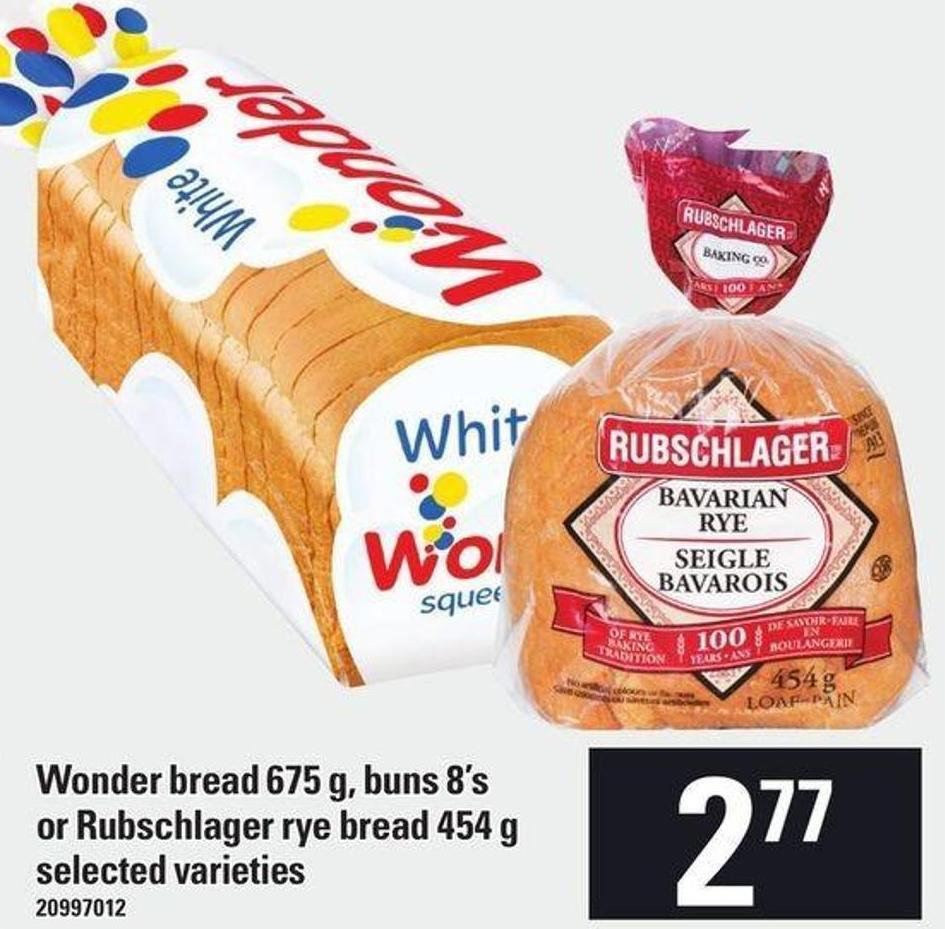 Wonder Bread - 675 G - Buns 8's Or Rubschlager Rye Bread - 454 G