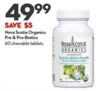 Nova Scotia Organics  Pre & Pro-biotics 60 Chewable Tablets