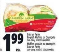 Oakrun Farm English Muffins Or Crumpets 264 - 284 g