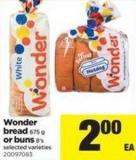 Wonder Bread - 675 G Or Buns - 8's
