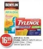 Benylin All- In-one - Tylenol Complete Caplets (40's) Or Liquid (250ml - 270ml)