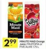 Minute Maid Orange Juice - Fruitopia or Five Alive 1.75 L