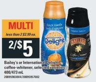 Bailey's Or International Delight Coffee-whitener - 400/473 mL