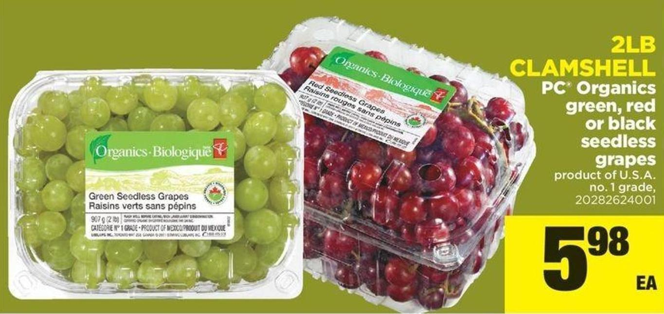PC Organics Green - Red Or Black Seedless Grapes