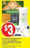 Dove Deodorant or Antiperspirant Selected 45-74 g Bar Soap 4 X 90 g or Body Wash 354-400 mL Delissio Thin & Crispy Crust Pizza 555-630 g