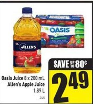 Oasis Juice 8 X 200 mL Allen's Apple Juice 1.89 L