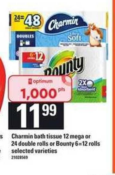 Charmin Bath Tissue 12 Mega Or 24 Double Rolls Or Bounty 6=12 Rolls