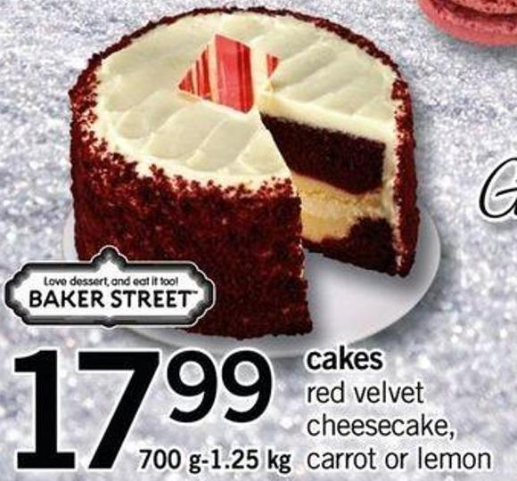Cakes Red Velvet Cheesecake - Carrot Or Lemon - 700 G-1.25 Kg
