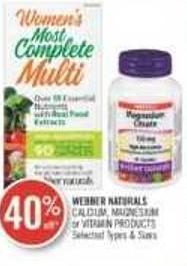 Webber Naturals Calcium - Magnesium or Vitamin Products