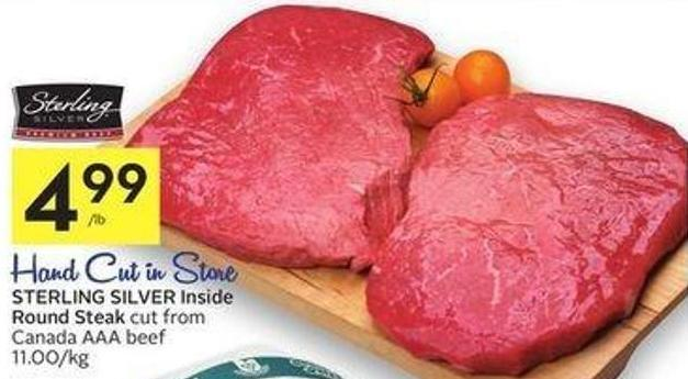 Sterling Silver Inside Round Steak Cut From Canada Aaa Beef 11.00/kg