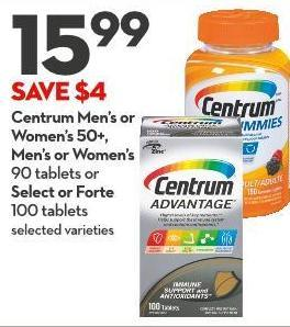 Centrum Men's or Women's 50+ -  Men's or Women's  90 Tablets or Select or Forte  100 Tablets