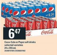 Coca-cola Or Pepsi Soft Drinks - 24 X 355 mL