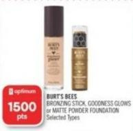 Burt's Bees Bronzing Stick - Goodness Glows or Matte Powder Foundation