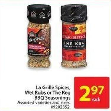 La Grille Spices - Wet Rubs or The Keg Bbq Seasonings