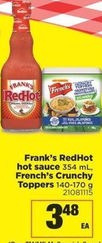 Frank's Redhot Hot Sauce - 354 Ml - French's Crunchy Toppers - 140-170 G