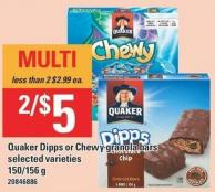 Quaker Dipps Or Chewy Granola Bars - 150/156 g