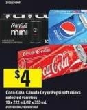 Coca-cola - Canada Dry Or Pepsi Soft Drinks - 10 X 222 Ml/12 X 355 mL