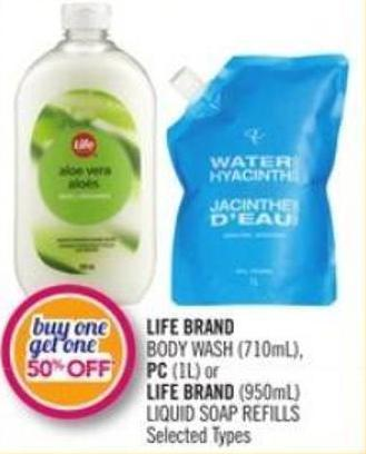 Life Brand Body Wash (710ml) - PC (1l) or Life Brand (950ml) Liquid Soap Refills