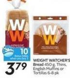 Weight Watcher's Bread 450 g - Thins - English Muffins Ortortillas 6-8 Pk - 10 Air Miles Bonus Miles