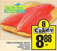 Fresh Rainbow Trout Fish Fillet Family Pack