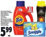 Tide Laundry Detergent - Bounce - Downy Or Snuggle Fabric Softener Or Downy Unstopables